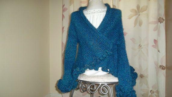 Knit and Crochet Navy Blue Girl's Shrug by inspirebynancy