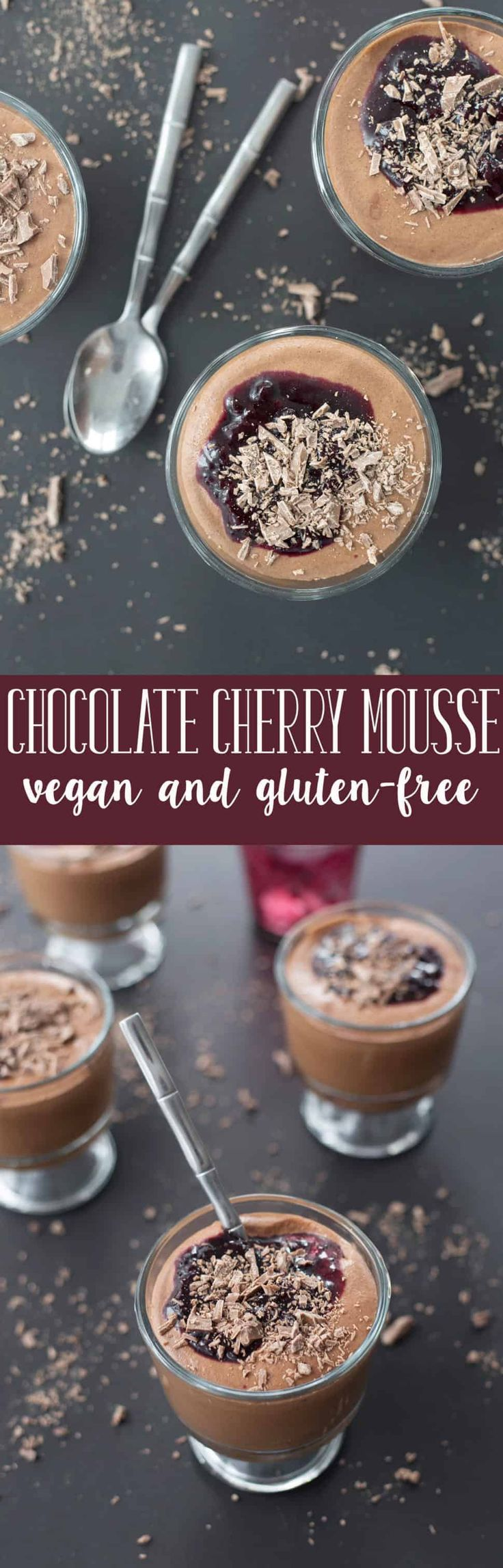 Chocolate Cherry Mousse! Made with aquafaba. A light and creamy dessert, perfect for Valentine's Day. Vegan, Gluten-Free and Nut-free. #chocolate #valentinesdayrecipes #healthyveganrecipes #healthydesserts #dessert #glutenfree #vegan   www.delishknowledge.com