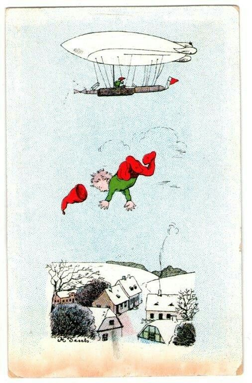 julekort med nisse som faller fra Zeppelin skip.