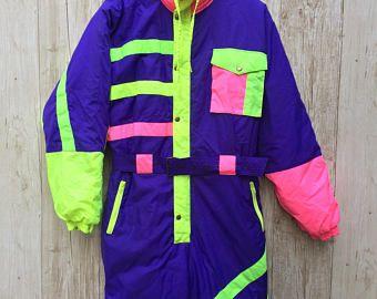 Retro Neon Ski Suit Onesie