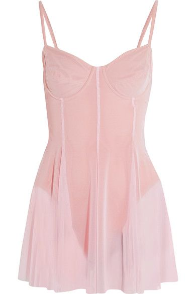 Norma Kamali - Stretch-tulle Swimsuit - Pastel pink - x small