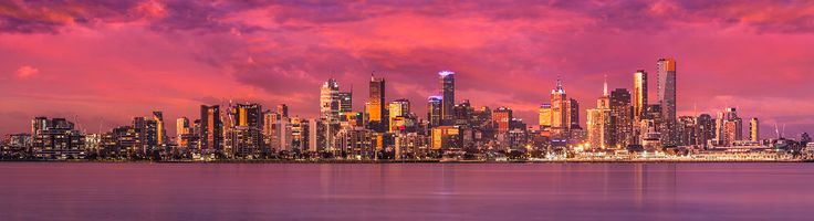 Melbourne 2015 a panoramic view of the city bathed in a warm glow of orchid light captured in July.