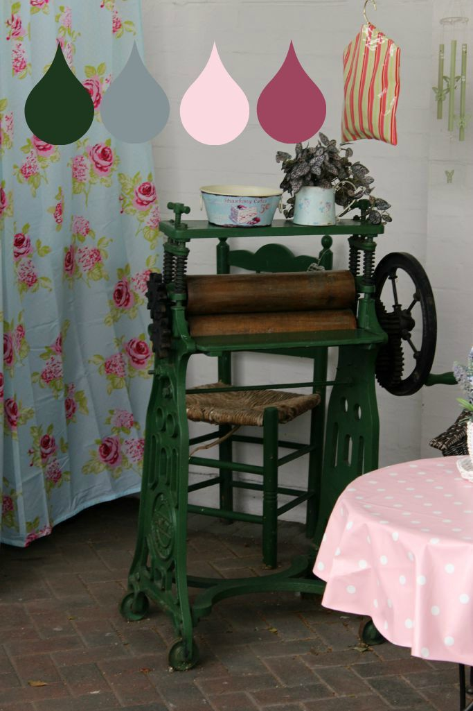 #shabbychic #vintagemangle #backyard #colourfulbackyard #outdoorspace #babypink #polkadot #tablecloth