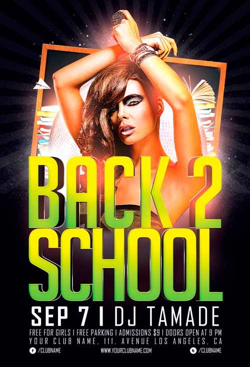 Free Flyer: Back 2 School Party Flyer Template - http://flyersonar.com/free-flyer-back-2-school-party-flyer-template/ Free Flyer: Back 2 School Party Flyer Template – This flyer template was designed to promote school party / semester opening party events. This print ready premium flyer template includes a 300 dpi print ready CMYK file. All main elements are editable and customizable.  #Club, #Deluxe, #EDM, #Flyer, #FreePSD, #Gold, #Luxury, #PhotoshopFlyer, #PrintFlyer,
