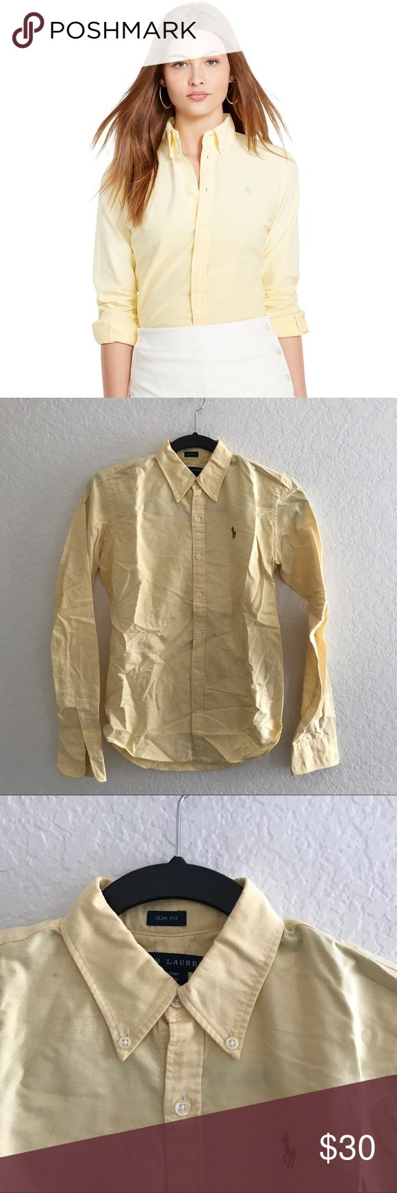 Ralph Lauren Women's Yellow Oxford Shirt Women's Ralph Lauren Polo brand button down oxford shirt. Only worn once. In like new condition (just needs to be ironed). Ralph Lauren Tops Button Down Shirts