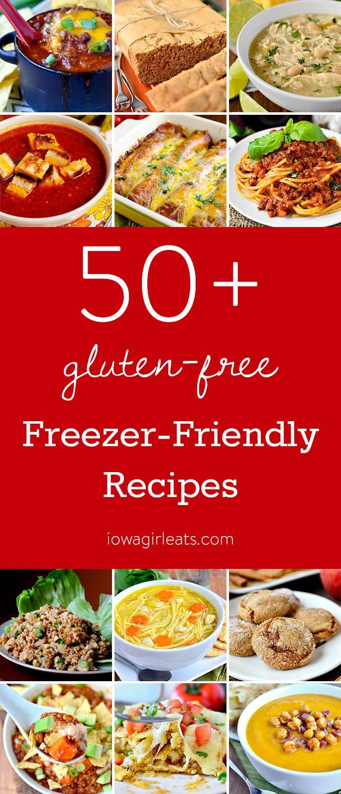 Freezer cooking is a wonderful way to save time and money in the kitchen! Here are 50+ gluten-free freezer-friendly recipes, plus tips on how to freeze foods, and which foods do and don't freeze well.  | iowagirleats.com
