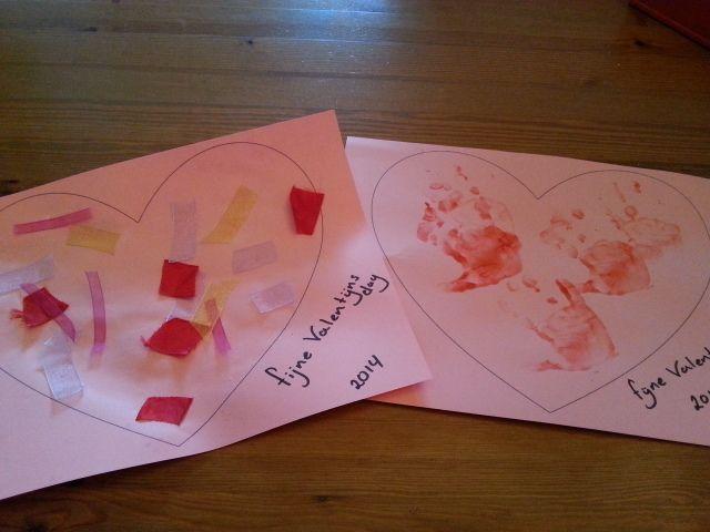 Hartjes verven en plakken voor Valentijn.