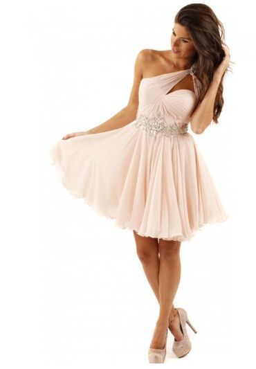 Simple Sleeveless One Shoulder Homecoming Dress under 100