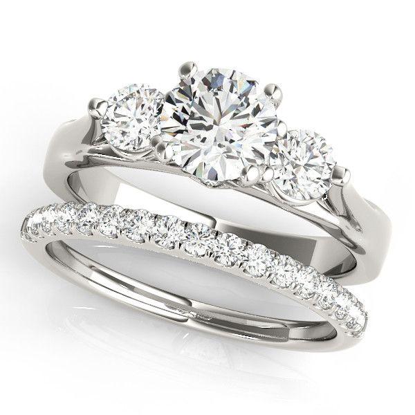 Three Stone Engagement Ring And Diamond Wedding Band