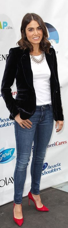 Who made Nikki Reed's black velvet blazer?
