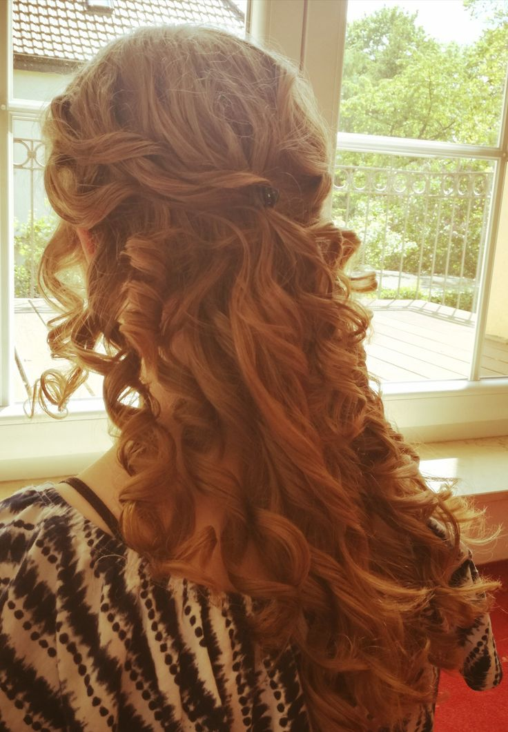 Long curly half updo