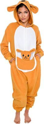 Slim Fit Animal Pajamas  Adult One Piece Cosplay Kangaroo Costume by Silver Lilly   Jump around in these Slim Fit Kangaroo One Piece Pajamas by Silver Lilly! Crafted from ultra-soft one hundred% polyester this comfy bodysuit pairs adorable animal designs with a sleek silhouette for a cozy costume that is Easiest for play. Intricate detailing at the head and body bring this adorable character to life with stitched in eyes and ears for added effect. Two side pockets are convenient for storing…