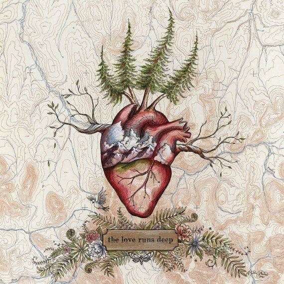 Die Liebe verläuft tief, Herzkunst auf Topo-Karte, 8 x 10 Kunstdruck, Wanderer Illustration, Trail Runner Schmerzen
