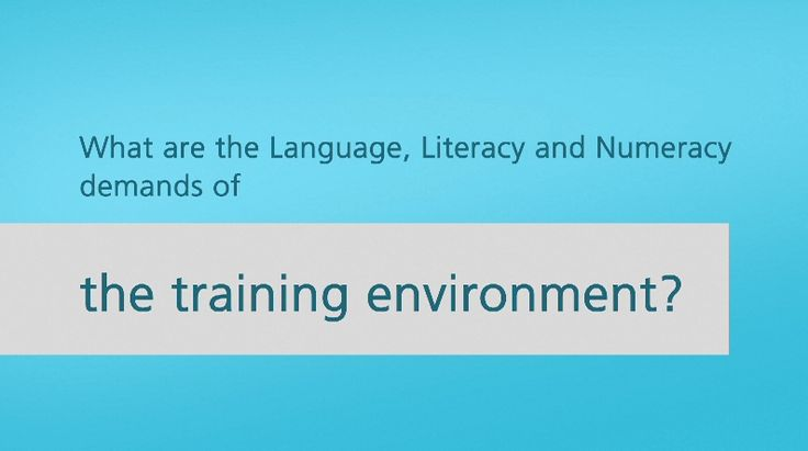 What are the Language, Literacy and Numeracy demands of the training environment?