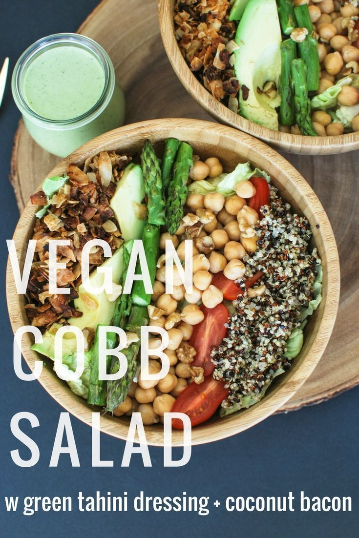 Vegan Cobb Salad with Green Tahini dressing and coconut bacon!