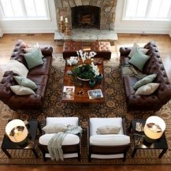 Brown Leather Couches Love the light blue pillows as accent color