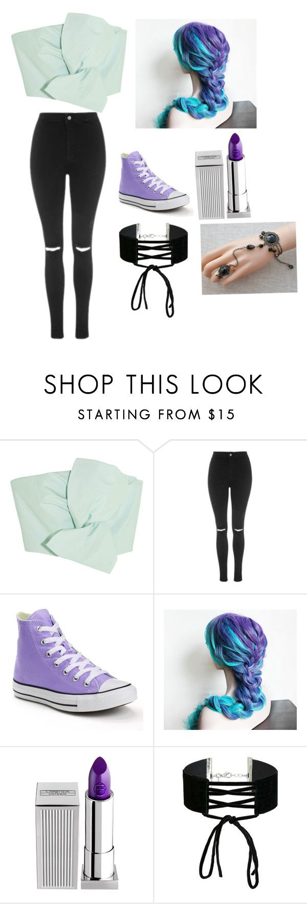 """Color"" by midnight952857 ❤ liked on Polyvore featuring Delpozo, Topshop, Converse, Lipstick Queen, Miss Selfridge and Whit"