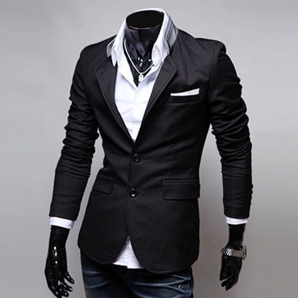 Smart Casual Two Button Stand Up Collar Men Suit Jacket