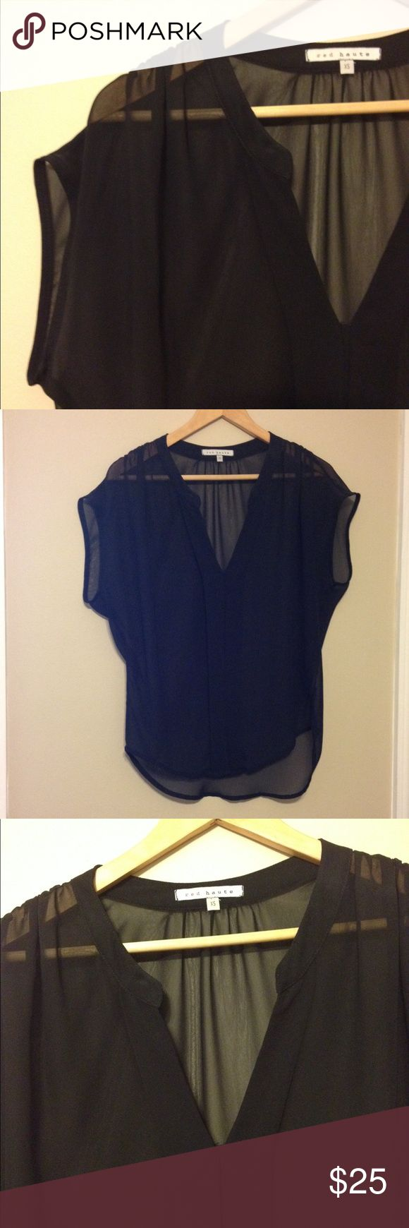 Black chiffon blouse by Red Haute With delicate ruching at the shoulder and concealed button on the front. By Red Haute from Nordstrom. Excellent condition with no flaws. Red Haute Tops Blouses