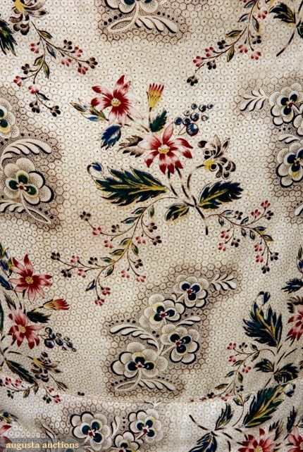 FLORAL ON HONEYCOMB PRINTED DRESS, 1830-1835