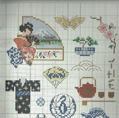 0 point de croix geisha et ses accessoires - cross stitch geisha and her accessories