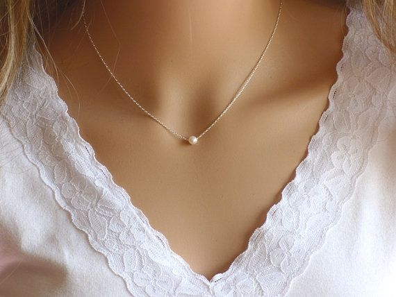 Single pearl necklace white pearl necklace Pearl by KRcollection