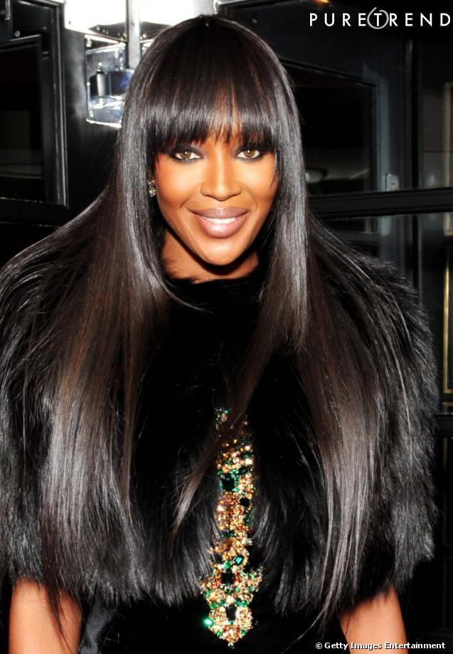 Coupe cheveux long noir avec frange