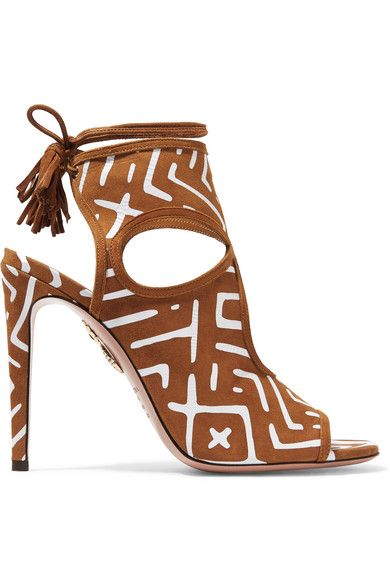 Heel measures approximately 105mm/ 4 inches Tan and white suede Ties at ankle Designer color: Cognac  Made in ItalySmall to size. See Size & Fit notes.