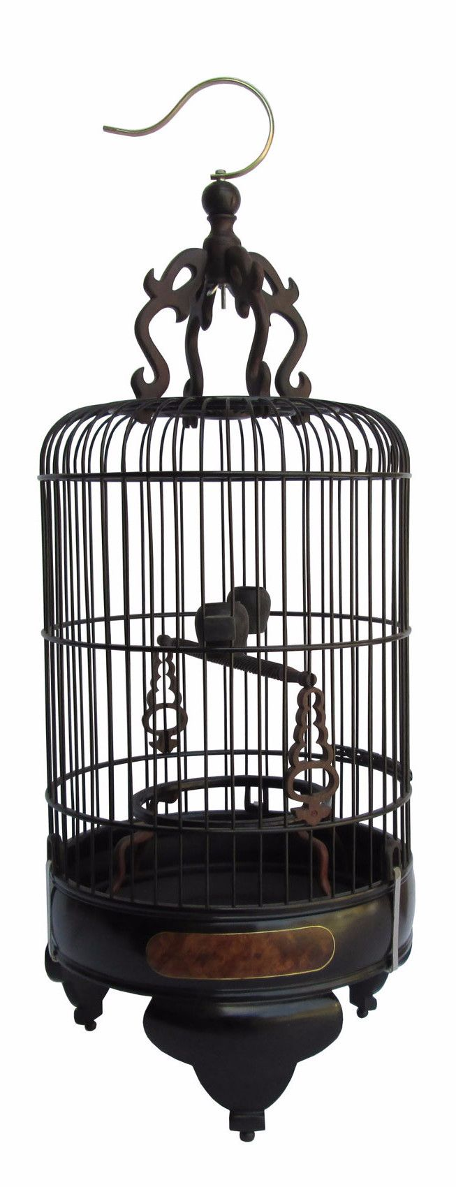 High Quality Handmade Chinese Tan Rosewood Burlwood Gold Line Inlay Round Shape Birdcage n258S