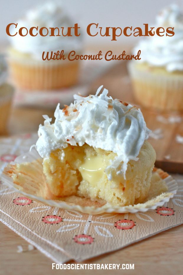 Coconut cupcakes. Filled with coconut custard and topped with meringue, these are full of fresh coconut flavor!