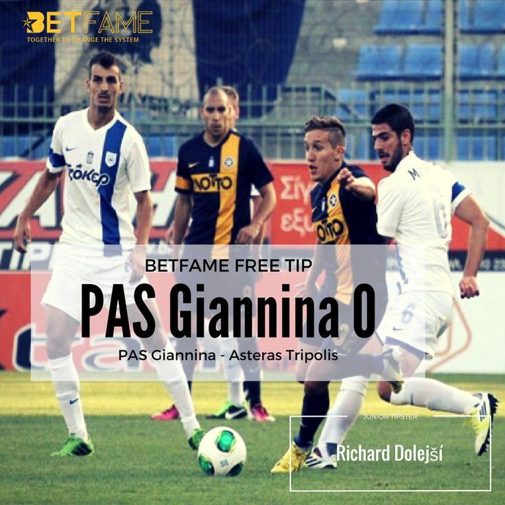 BetFame soccer tips, contributed by Richard Dolejší. PAS Giannina - Asteras Tripolis,  PAS Giannina 0 at odds 1.70.