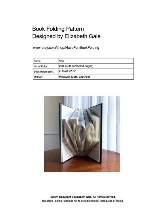 Noel Book Folding Pattern 200 Folds 400 Numbered Pages Etsy Book Folding Patterns Book Folding Traditional Books