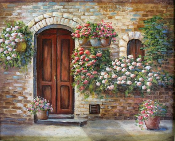 Tuscan door an original acrylic painting the old for Painting on glass windows with acrylics