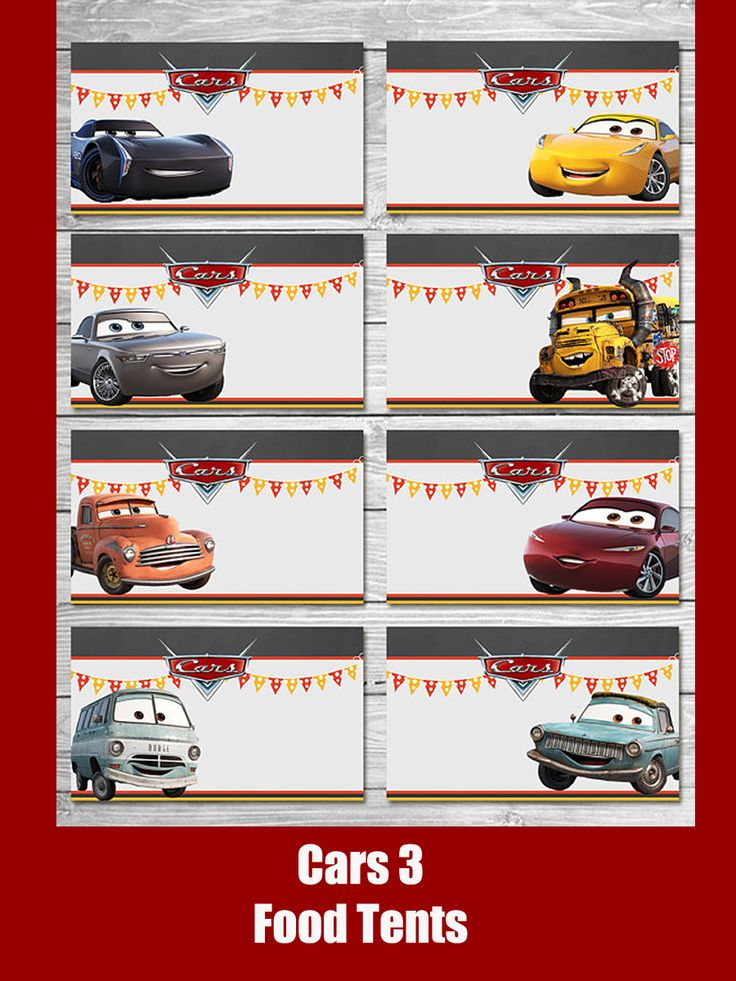 Disney Cars 3 Food Tents Chalkboard Set 3 - Cars Food Label - Disney Cars Printable - Cars Party Favor - Cars Happy Birthday - Cars Birthday #ad