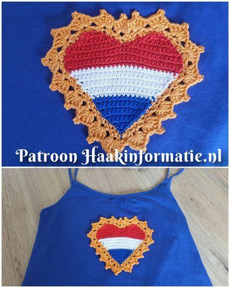 Een gratis Nederlands haakpatroon van een Koningsdag Hart in de kleuren rood wit blauw en oranje! Haak jij ook een Koningsdag Hart! Lees snel verder!
