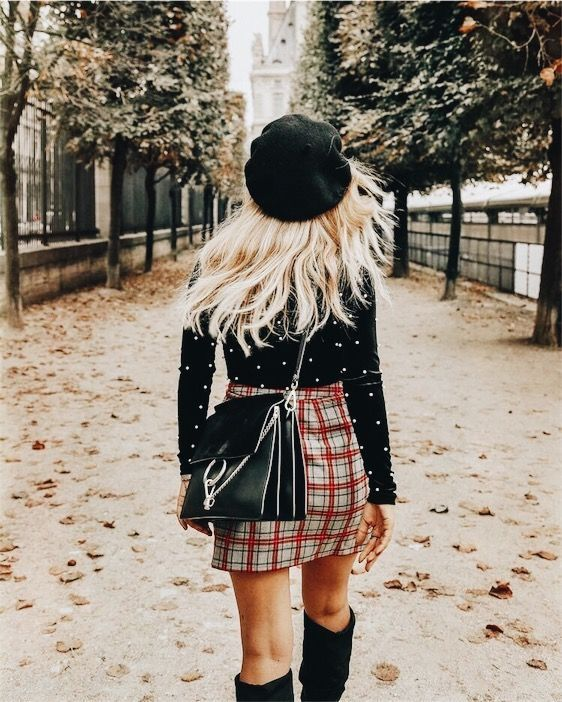 Plaid mini skirt with black hat, top and boots.