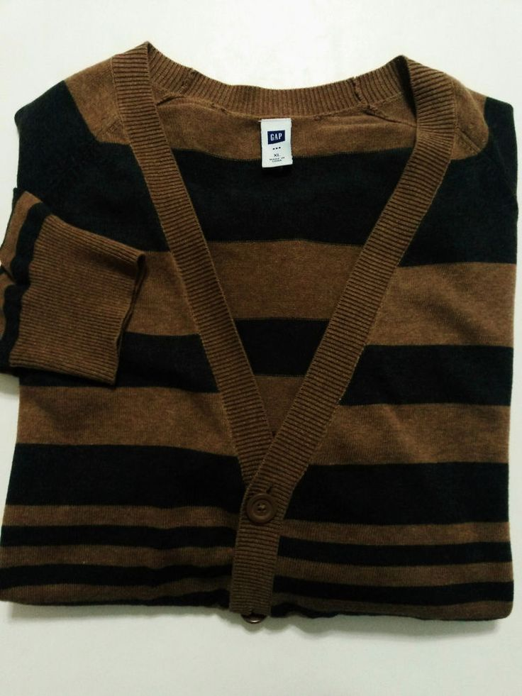 Gap - Men's Sweater - Size XL - Brown Stripe Cardigan - Long Sleeves - Button Front & V-Neck   #Gap #Cardigan  ..... Visit all of our online locations..... www.stores.eBay.com/variety-on-a-budget ..... www.amazon.com/shops/Variety-on-a-Budget ..... www.etsy.com/shop/VarietyonaBudget ..... www.bonanza.com/booths/VarietyonaBudget ..... www.facebook.com/VarietyonaBudgetOnlineShopping      http://www.stores.ebay.com/variety-on-a-budget