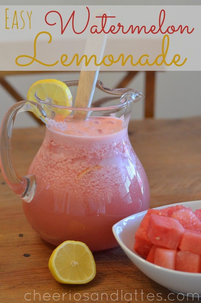 Easy Watermelon Lemonade ~cheeriosandlattes.com 2 cups Country Time Lemonade Concentrate, 8-10 cups* of Watermelon (chunked) (*depending on how thick you want your lemonade), 1 Fresh Lemon (Cut in Slices), 8 cups Water