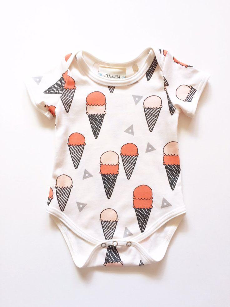 Organic baby bodysuit in ice cream print, short sleeve bodysuit by LolaandStella on Etsy https://www.etsy.com/au/listing/246949830/organic-baby-bodysuit-in-ice-cream-print