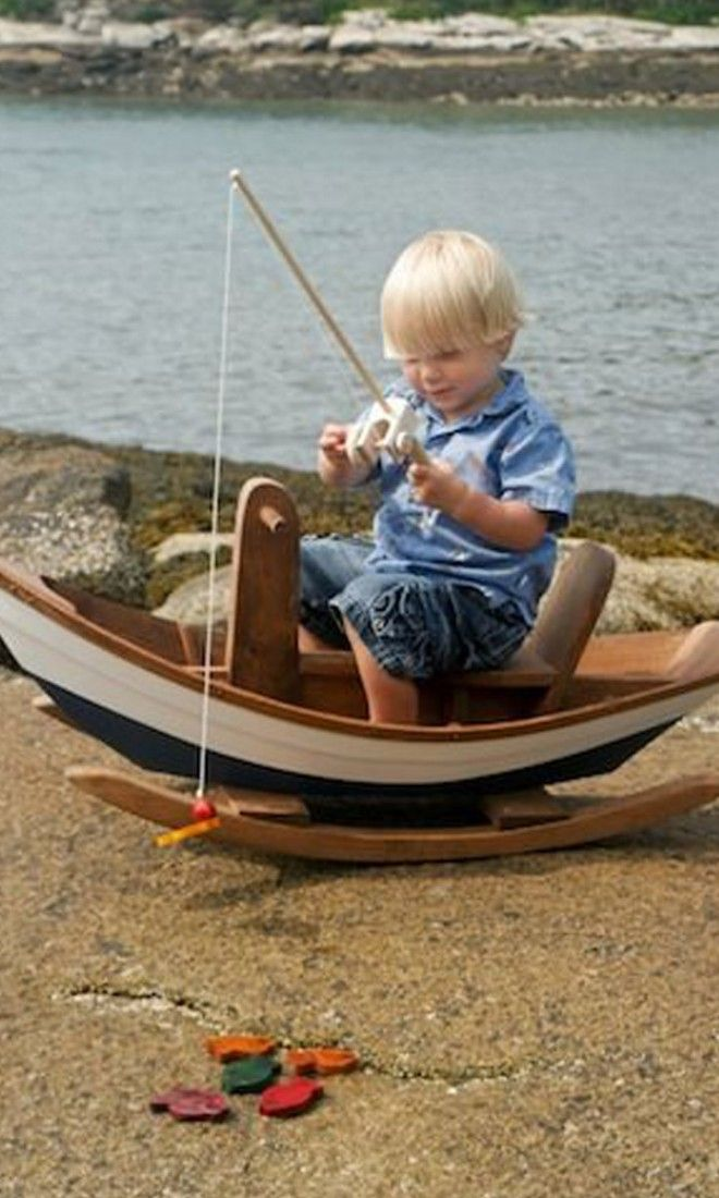 Awesome rocking row boat and fishing set bella luna toys for Wooden fishing pole