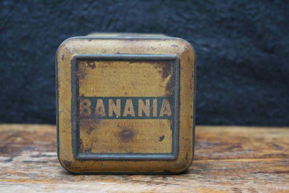vintage blikken banania doos geel en blauw door BelaCastroAndCo
