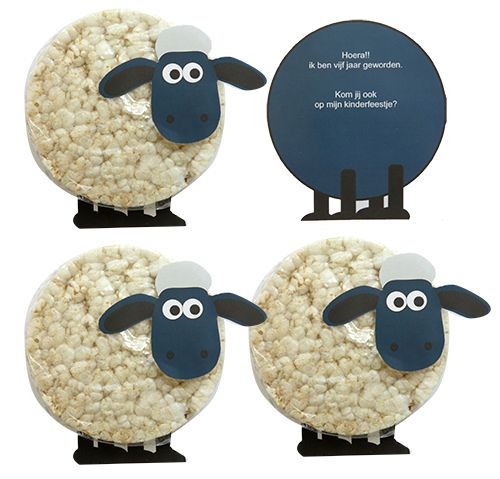 Shaun het schaap als peuter en kleuter traktatie van een rijstwafel. Makkelijk meteen maken met de gratis werktekening.