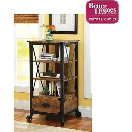The #Rustic Country Tech Pier features a media storage drawer. It also features fixed casters and an antiqued black/pine finish.  Rustic Country Tech Pier, Antiq...