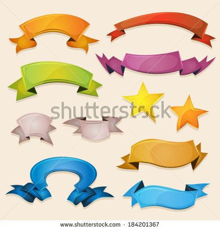 Comic Banners And Ribbons For Ui Game/ Illustration of a set of various design fresh colorful banners, ribbons, swirls, awards and scrolls to use for example as elements inside ui game - stock vector