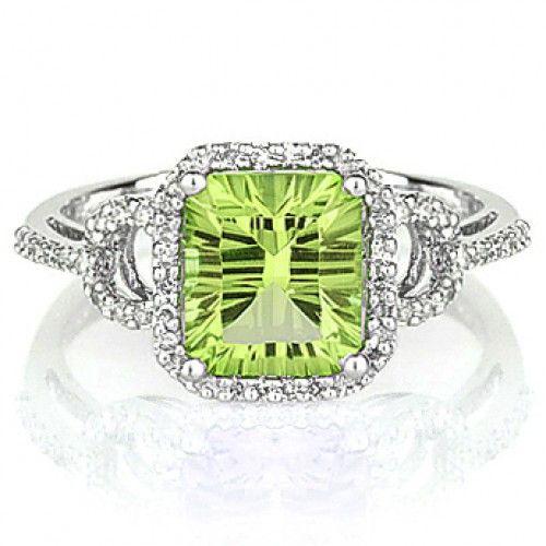 14k white gold peridot and diamond ring