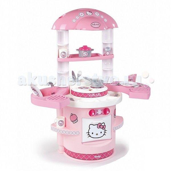 Smoby Моя первая кухня Hello Kitty  Моя первая кухня Smoby Hello Kitty – прекрасная кухня в розовом цвете для готовки разных блюд для кукол и мягких любимых игрушек.   Особенности:    игровая кухня выполнена в приятных розовых тонах и украшена изображениями кошечки Hello Kitty  оборудована плитой на 2 конфорки, столешницей с мойкой и краном (без воды), встроенной открывающейся духовкой, множеством различных полочек для размещения на них продуктов или посуды и крючками для подвешивания…