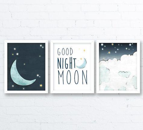 Moon Nursery Drawing Navy Moon Kids Room by LowerWoodlandStudio – Gender neutral nursery