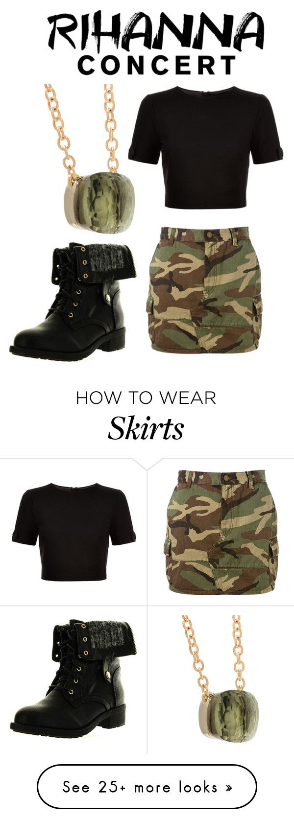 """Camo Skirt"" by kkai on Polyvore featuring Yves Saint Laurent, Ted Baker, Refresh and Pomellato"