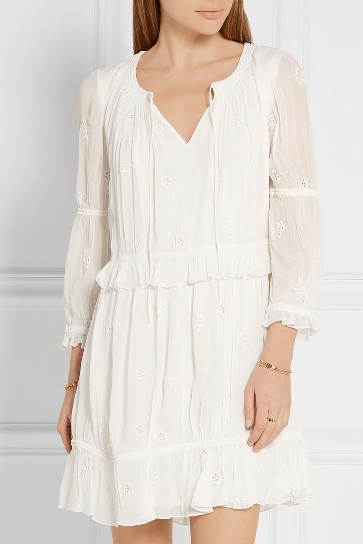 Ivory broderie anglaise georgette Slips on viscose;