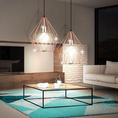 Decken-Leuchte-Haenge-Wohnraum-Lampe-Metall-Kaefig…